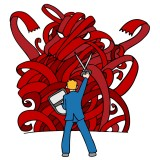 Business man fighting red tape monster