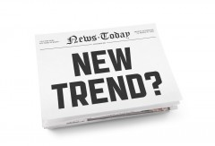 "Newspaper with front headline ""New Trend?"""