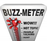 "Buzz Thermometer with ""hot topic"" being the hottest temperature and the ""huh?"" being the lowest temperature"