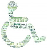 Handicapped Symbol shaped by words referring to the Disabled