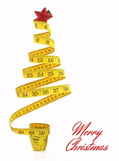 "Measuring tape shaped like a Christmas Tree and ""Merry Christmas"" greeting"