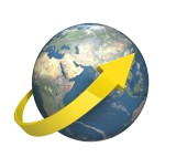 Globe with a yellow arrow circling