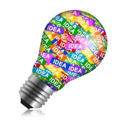Light bulb with idea tags inside