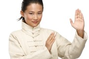 Woman doing a Kung fu pose