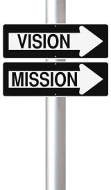 "One way road signs ""Vision"" and ""Mission"""