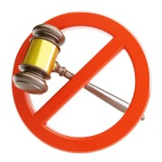 No Judgement - a gavel with an circle around it, crossing it out.