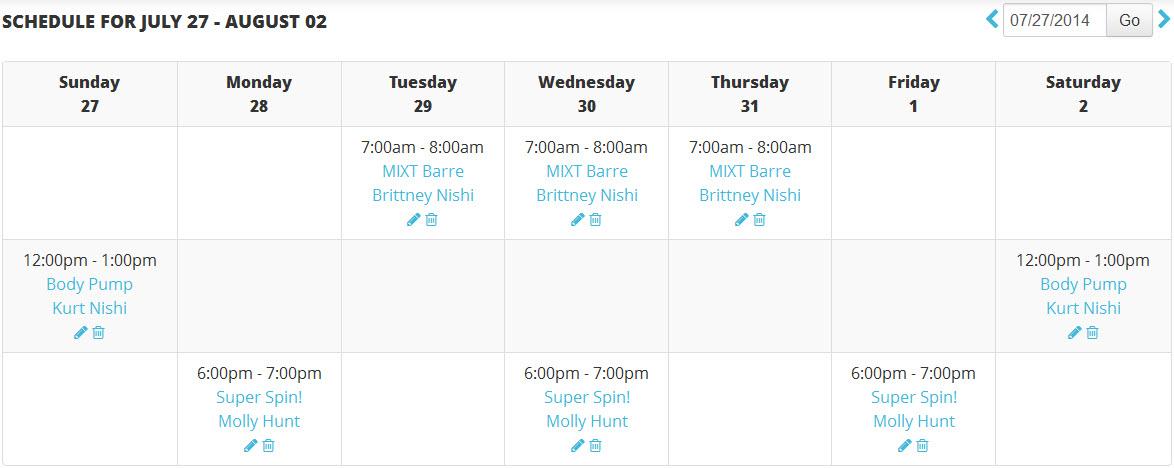 Class Schedule - Create